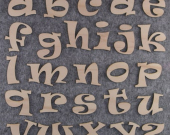 Ravie Font Alphabet Set, Lower Case a-z 26 Letters, 3mm Plywood
