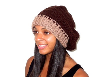 Crochet Slouchy Hat, Women, Men, Teen, Tam, Brown, Beige, Ready To Ship,
