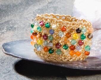 JOY, Ring, gold filled, multicolor gemstones (OOAK)