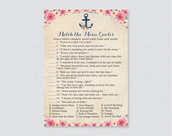 Movie Love Quote Match Game - Printable Nautical Bridal Shower Movie Quote Game - Pink Floral and Navy Anchor Nautical Bridal Shower - 0020