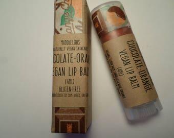VEGAN-Chocolate Orange Vegan Lip Balm-copper color/chocolate orange flavor-with lemon balm for chapped lips-oval vegan lip balm(4.25ml)