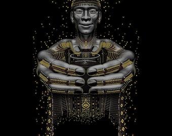 Original Shamanic Art Poster Design, Ayahuasca Art Print on Canvas, Healing Art Poster Print Canvas, Psychedelic Wall Hanging. FREE Shipping