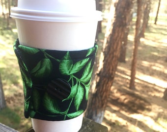 Reusable Coffee Sleeve - Black with Green Leaves