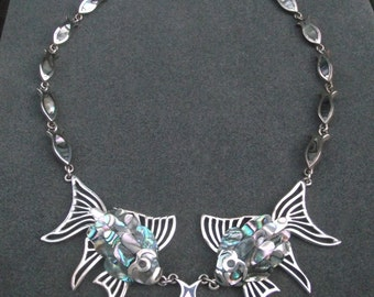 Sterling silver Abalone Goldfish Necklace Set