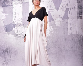 Dress, Two colors dress, Short sleeves dress,  Elegant dress, Maxi Dress, Asymmetric Dress, V neckline, Open back dress, urbanmood UM-121-VL