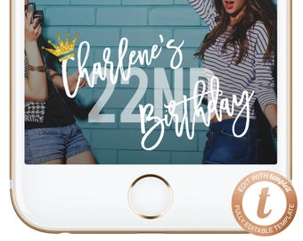 INSTANT DOWNLOAD Snapchat Filter Birthday Snapchat Geofilter Birthday Geofilter Snapchat Birthday Gold Crown Sparkles Bachelorette Templett