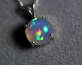 Rainbow opal necklace, fire opal pendant, opal necklace, natural opal necklace, glowing fire opal, fire opal necklace, natural opal pendant