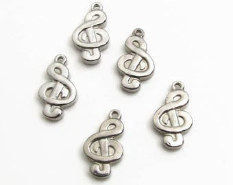 Musical Note Charm, Stainless Steel Music Note - Set of 5 SST Findings 18x10x3mm, Treble Clef Charm, Music Charm