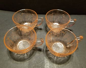 Jeannette glass Cherry Blossom  cups set of 4