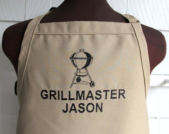 Customized Grilling Apron - Gift for Dads - Charcoal Grill Apron - Apron for Smoking Meat