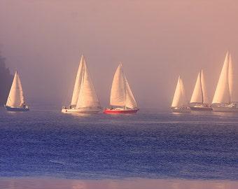 Sailing Print, Boat Photography, Sailboat Print, Nautical Decor, Sail Boat, Sunset Photography, Ocean Art, Nautical Prints,Pacific Northwest