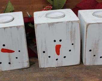 Wooden Snowman Christmas decorations Rustic candle holders 4x4 Rustic Christmas decor Coworker Christmas gifts Farmhouse Christmas