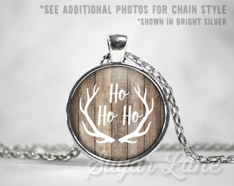 Ho Ho Ho Necklace - Rustic Holidays - Glass Dome Necklace - Christmas Pendant - Holiday Jewelry