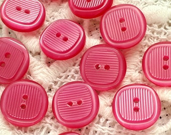 bright Fuchsia pink set of 6 resin buttons 2 hole 12 mm