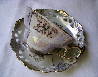 Lustreware Tea Cup and Saucer