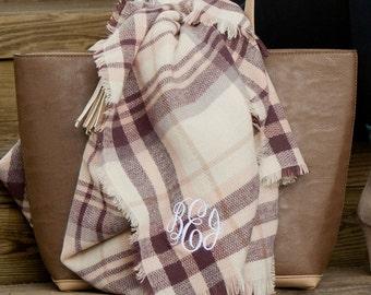 Plum Plaid Blanket Scarf with Monogram, Monogram Blanket Scarf, Blanket Scarf, Plaid Scarf, Monogram Scarf, Plum Plaid Blanket Scarf