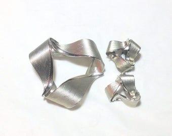 Vintage Silvertone Swirl Pin and Clip Earrings