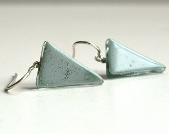 Triangle Earrings, Minimalist Earrings, Geometric Earrings, Sterling Silver, Enamel earrings, Arrow earrings, Geometric Jewelry