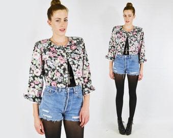 Black Floral Jean Jacket Floral Denim Jacket Floral Jacket Floral Print Crop Jean Crop Denim Crop Jacket 90s Grunge Jacket S Small M Medium