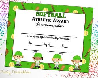 free printable softball certificates