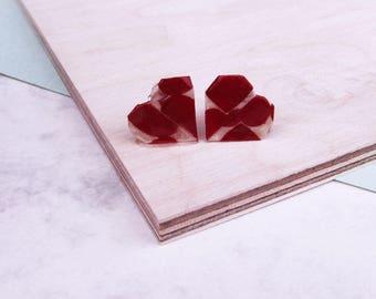 Heart Stud Earrings Geometric Love Hearts