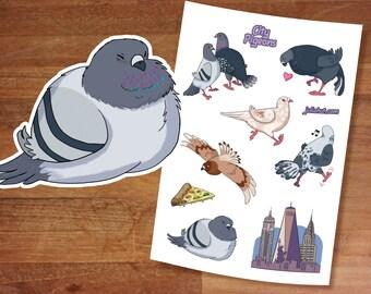 Stickers / Pigeon Stickers / City Pigeons / Cute Pigeons / Sticker Set/ Sticker Sheet / Kawaii stickers / Pigeons / Bird Designs / Smol birb