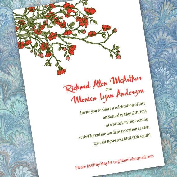 wedding invitations, cherry blossom wedding invitations, cherry blossom bridal shower invitations, company retreat, Asian invitations, IN295