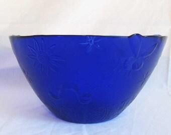 Cobalt Blue Glass Huge Serving Bowl Insect Bug Designs Textured