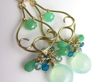 Spring Buds Earrings - 14k Gold Filled with Chrysoprase, Chalcedony and Apatite