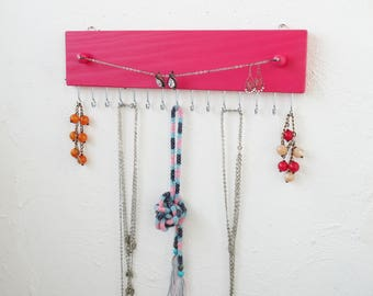 Wall Jewelry Organizer - Jewelry Organizer - Necklace Holder - Pink - Wood Necklace Hanger - Necklace Storage