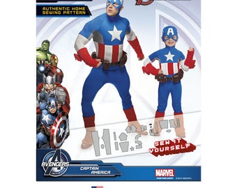 Sewing Pattern Marvel Captain America Costume, Boys 3 to 8, + Mens S- XL, Simplicity Pattern 1030, Halloween, Cosplay, Matching Father Son