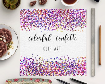 PARTY TIME, Colorful Confetti Clipart, Party Borders Clipart, Confetti Invitation, Transparent PNG, Commercial Use, BUY7FOR10