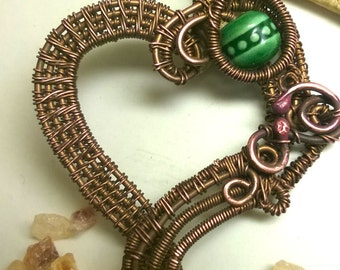 "Copper wire wrapped pendant ""Heart"""