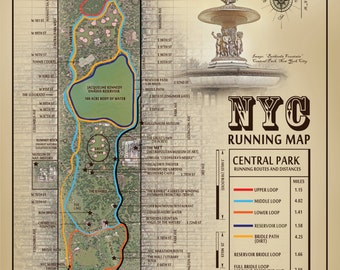 """NYC Central Park """"Bethesda Fountain"""" vintage inspired 11 x 14 running route map"""