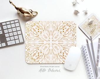 "Floral Mousepad ""Yellow Maze"" by Iveta Abolina Mousepad Mouse Mat Floral Mouse Pad Office Mousemat Rectangular Mousemat Mousepad Round 30."