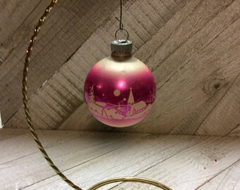 Vintage Mercury Glass Shiny Brite Christmas Ornaments 1950's  Pink Stencil Ornament  Ornament