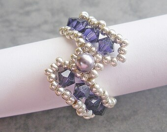 Ring Beading Tutorial Pattern -  Purple S Ring (RG181) - Beading Jewelry PDF Tutorial (Instant Download)
