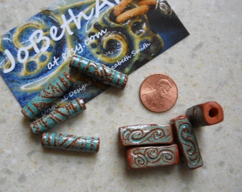 Handcrafted ceramic, one inch, tube beads with turquoise glaze in two styles