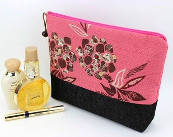 Cosmetic Bag, Travel Pouch, Padded Cosmetic Pouch,Flowers Pink