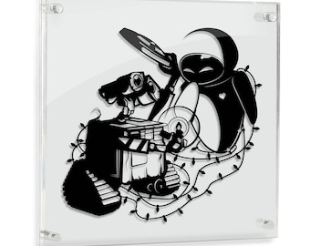 Wall-E and Eve Pixar Art Papercut Geek Gift SciFi Robots Love Art Anniversary Gift Wedding Gift Disney Gift Hand Cut Paper Walle FRAMED