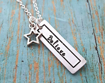 Believe Necklace - Believe - Inspirational Necklace - Motivational Jewelry - Motivation - Women's Jewelry - Gift for Her - Gift for Women