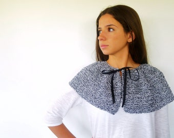 Hand knit shawl. Black knitted poncho. Womens shoulder wrap. Cotton shrug. Gift idea for her