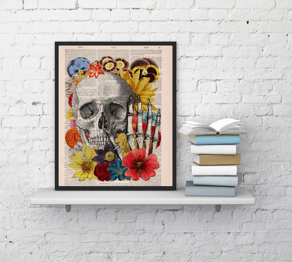 Skull with flowers collage art ,Wall decor Skull flower collage Print on Vintage Book,giclee print , Skull art SKA081bX
