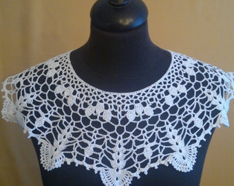 Handmade Crochet Collar, Neck Accessory, Snow White, 100% Cotton