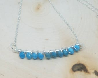 """Turquoise Apatite and Silver Wire Wrapped Necklace - 18"""" // Gifts for Her"""