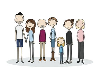 A3 Custom Family Portrait Illustration