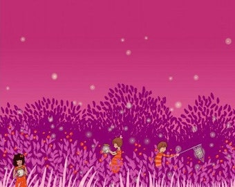 RARE Wee Wander Woods Summer Night Lights Boarder Print in Magenta by Sarah Jane for Michael Miller