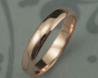 Men's Wedding Band~Women's Wedding Ring~14K Gold Ring~Half Round Ring~4mm Wide Ring~Plain Jane Band~Gold Wedding Band~Rose Gold Ring