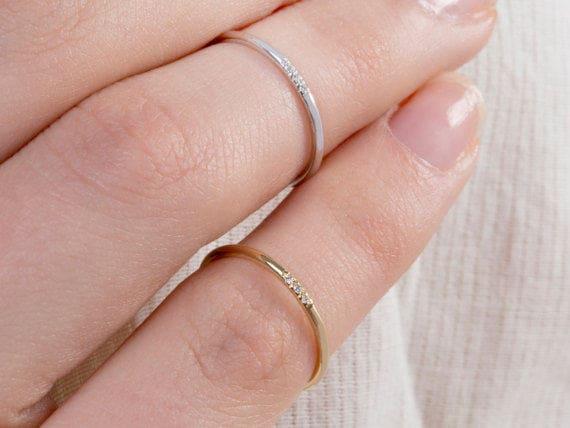 Diamond Wedding Ring Thin Diamond Band Wedding Ring Band