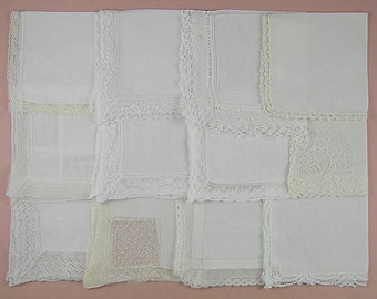Vintage Hanky Lot,Wedding Hanky Lot,One Dozen White Wedding Vintage Hankies Handkerchiefs  (Lot #81)
